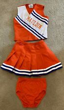 1990's CD CHEERLEADING & DANZTEAM OUTFIT ORANGE WHITE TOP SKIRT BLOOMERS LY MY