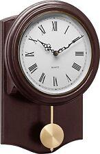 Classic Brown Pendulum Traditional Design Wall Clock Quartz Movement UK