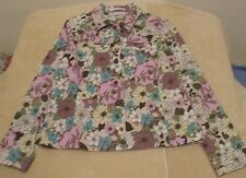 Villager Sz 10 Button Front Purple Green Turquoise White Floral Jacket, long slv