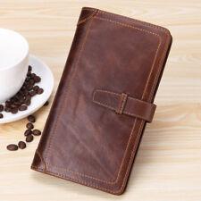 Men Vintage Genuine Leather Long Wallet Ticket Card passport Case Holder Folder