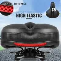 Reflective Wide Big Bum Bike Bicycle Cycling Gel Comfort Seat Saddle Safty Black