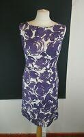 Laura Ashley Size 10 Purple Floral Shift Sleeveless Dress Linen Blend