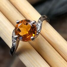 Natural 1ct Golden Citrine, White Topaz 925 Sterling Silver Engagement Ring sz 7