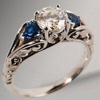 Weiß & Blau Saphir Silber Überzogen Damen Schmuck Hochzeit Ring Größe 6 7 8 9 10