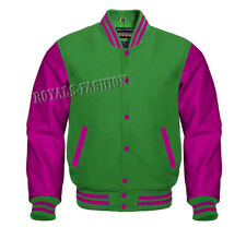 Green Wool and Genuine Hot Pink Leather Sleeves Letterman Varsity Jacket XS~7XL