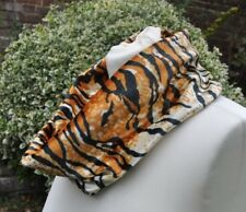 Snood/cowl Scarf stretch velvet tiger print burnt orange, black, ivory