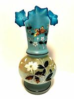 Antique Vase Mouth Blown Hand Painted Flowers Ruffled Top Handcrafted 11.5 inch