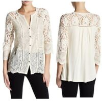 Lucky Brand Lace Top Blouse Women's Small Ivory Button Down Boho