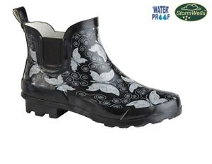 Ladies Ankle Wellies Black Butterfly Print Stormwells Short Welly Wellingtons