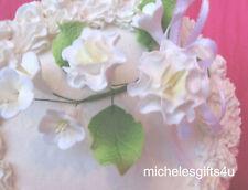 "Gum Paste Sugar White Carnations, Leaves, White Cake Decorating Flowers 3"" x 4"""