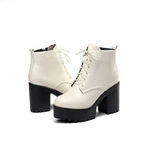 Womens Platforms Lace Up Punk Combat Ankle Boots Block Heels Leather Shoes New