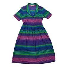 Lanvin Short Sleeve Stripy Shirt Dress   Vintage Designer Green Pink Blue VTG