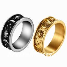 Ретро мужчин женский из нержавеющей стали луна звезда солнце кольцо ювелирных изделий в богемном стиле лента размер 7-13
