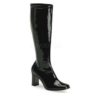"*Funtasma 3.75"" Block Heel Shiny Black Stretch Gogo Glam Knee High Boots Retro 6"