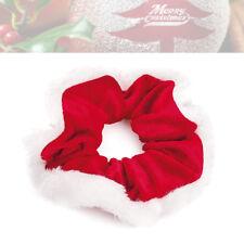 Women Girls Red White Christmas Fur Velvet Scrunchie Hair Bobble Xmas Party