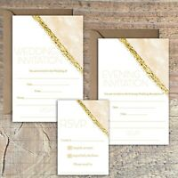 WEDDING INVITATIONS BLANK GOLD AND PEACH/BEIGE MARBLE PRINT EFFECT PACKS OF 10