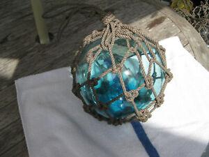 Japanese Glass Fish Net Float - Turquoise -  Medium