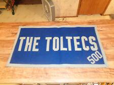 "ANTIQUE Felt Pennant Banner TOLTECS H.S. Basketball Team 500 Wins 32"" by 17"""