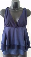Esley Navy Polyester Sleeveless Top Size Small