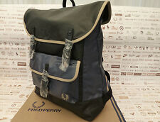 Fred Perry Backpack L6213 Rucksack Coated Canvas Navy Large Shoulder Bag