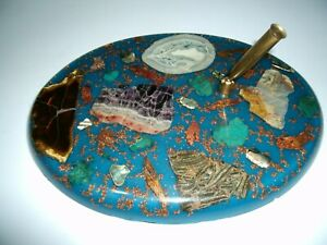 Vintage Unique Blue Oval Acrylic/Resin Rare-w/Geode/Gold/Rocks/Desk Pen Holder