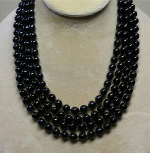 """JOAN RIVERS GOLD EP HAND KNOTTED 8mm BLACK CZECH GLASS PEARL 75"""" NECKLACE NOS"""