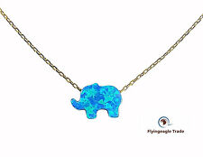 Fire Opal Elephant Aqua Blue Pendant Sterling Silver 925 Gold Necklace 18''