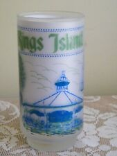 Vintage Kings Island Frosted Beverage Glass Roller Coaster Eiffel Tower Carousel
