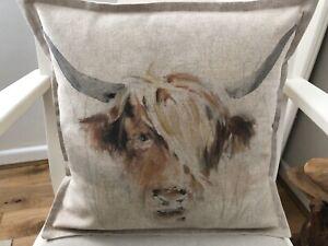 "Handmade Linen Look Highland Cow Print Backed & Edged Cushion Cover 17"" X 17"""
