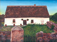 """Irish Thatched Roof Cottage 8""""x10"""" Limited Edition Oil Painting Print Art"""