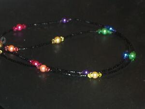 "Rainbow Pearl~Black Beaded Eyeglass Chain~Handmade~28""~Buy 3 SHIP FREE"