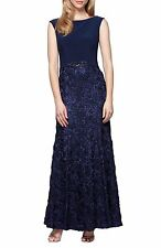 ALEX EVENINGS EMBELLISHED SOUTACHE BALLGOWN NAVY DRESS sz 10