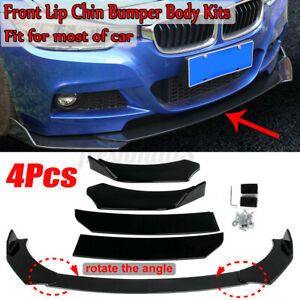 4PCS Front Bumper Chin Lip Body Kit Splitter Spoiler Gloss Black For BMW Nissan