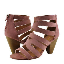 Women's Shoes Qupid Chamber 26X Strappy Caged Stacked Heel Mauve Suede *New*