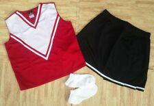 "Adult M L Red Black Cheerleader Uniform Top Skirt Socks 36-38/28-31"" Cosplay New"