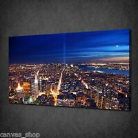 NEW YORK CITY AT NIGHT TRIBUTE CANVAS PRINT WALL ART PICTURE READY TO HANG