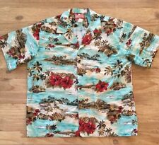 RJC Hawaiian Vintage Shirt Blue Palm Trees Hibiscus 🌺 Sea Plane Huts Men's 3XL