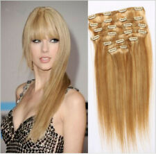 ATOZ Clip in Remy Human Hair Extensions Thick Double Weft Full Head 7/8 Pcs