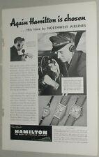 1937 Hamilton Watch advertisement, Northwest Airlines, pilot checking wristwatch