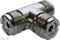 High Quality UHF T Connector - Triple Female T Coax Connector - HAM CB  Coaxial
