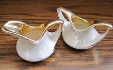 MINI SUGAR & CREAMER Set - White Pearl Irridescent Luster With Gold Trim Vintage