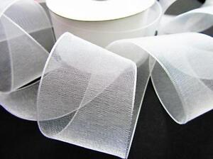 "25 yards Roll Organza Sheer 1.5"" Wide Ribbon/Wedding Supply US Seller OR15-White"