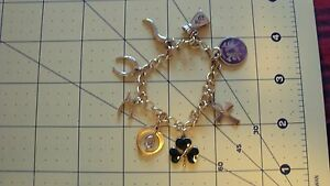 Gold tone GF and sterling GOOD LUCK Charm Bracelet gemini clover