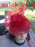 Wedding Party Carnival Races Feather Fascinator Hat Green Pink Red Blue Purple