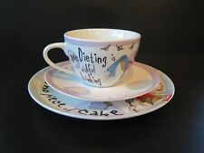 """JOHNSON BROTHERS """"DIETING IS NO PIECE OF CAKE"""" CUP, SAUCER AND PLATE GIFT SET"""