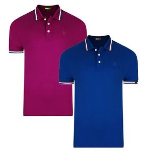 Mens Tipped Polo Shirt Slim Fit Urban Fox Short Sleeve Top New