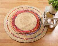 Round Chindi Rag Rug Jute & Cotton Multicolour Braided Shabby 97 CM Indian Rugs