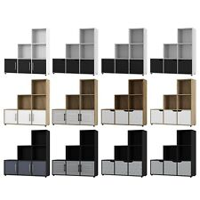 6 Cube Step Storage Bookcase Shelf Unit Wooden Metal Doors Wood Home Organiser