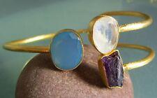 925 silver 20gr cut moonstone/chalcedony/rough amethyst gold plated cuff bangle.