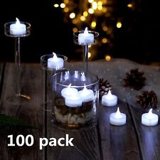AGPtek 100x LED Battery-Operated Cool White Flameless Flickering Tealight Candle